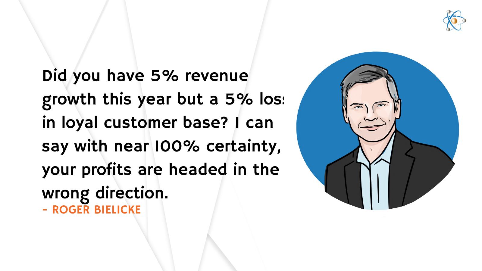5% revenue growth loyal customer base loss customer success quotes roger bielicke atomic revenue