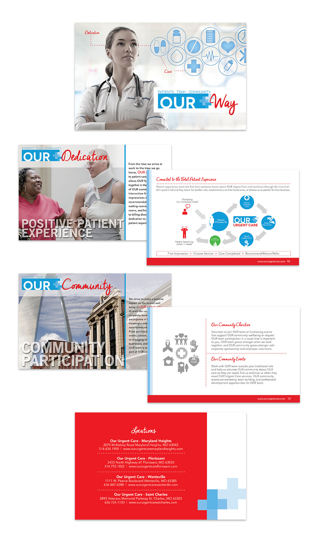 Design brochures and internal communications too