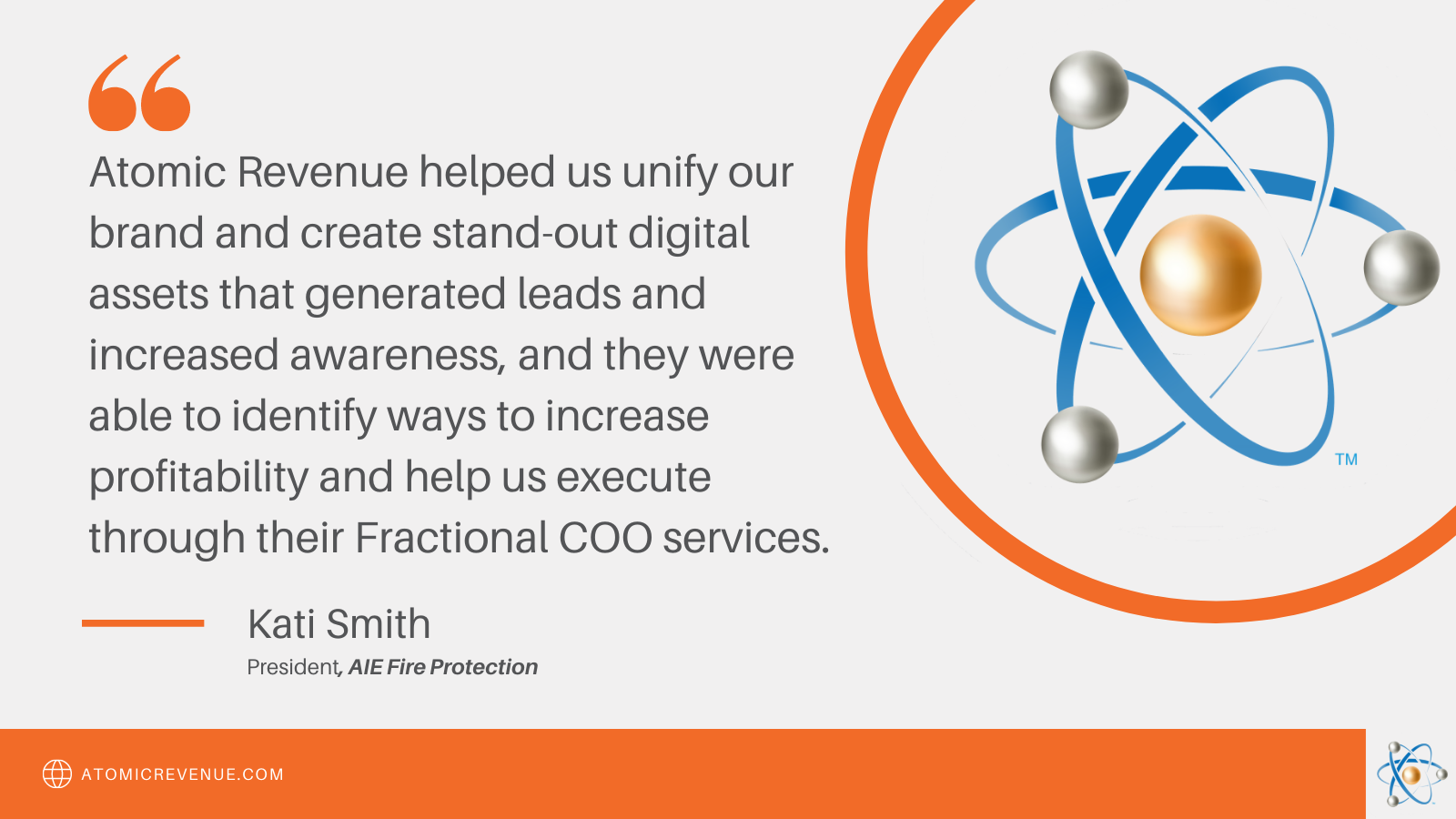 atomic revenue testimonial engineering kati smith aie fire fractional services